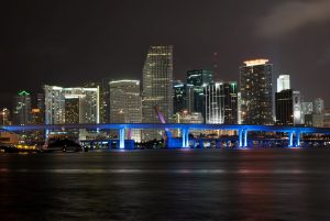Architecture and buildings near the blue bridge in Miami, Florida.