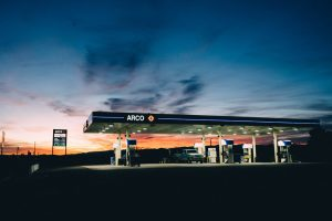 An image of an Arco gas station after sunset.