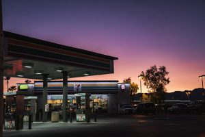 A 7 eleven gas station and convenience store.