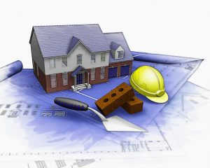 the layout of a home featuring a builder's hat and construction tools
